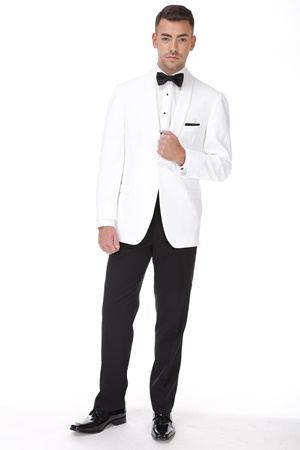 White 1 Button Shawl Dinner Jacket
