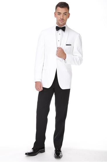 White 1 Button Shawl Dinner Jacket
