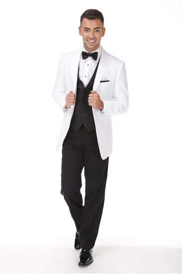 White 2 Button Notch Slim Fit