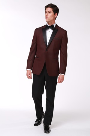 Slim Fit Burgundy Tuxedo Jacket