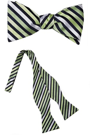 Green Stripe Silk Self-Tie Bow Tie