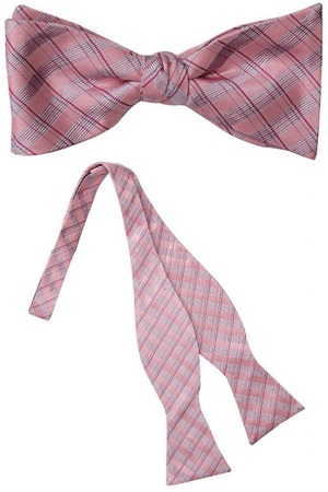 Seneca Pink Plaid Silk Self Tie Bow Tie