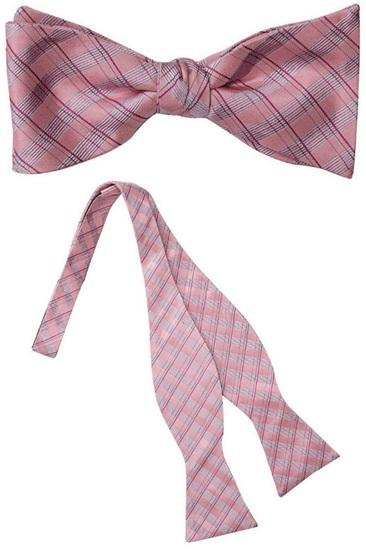 Seneca Pink Plaid Silk Self Tie Bow Tie