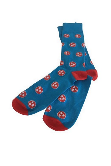The Pioneer Blue and Red Tri-Star Socks