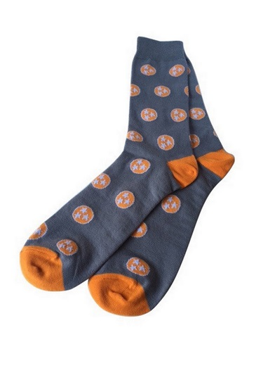 The Great Smoky Gray and Orange Tri-Star Socks