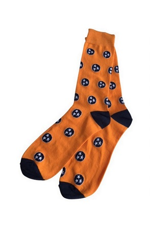 The Waltz Orange and Navy Tri-Star Socks