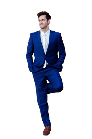 Cobalt Blue Polyester 2-Piece Suit