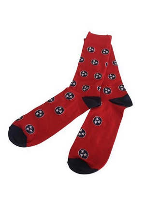 Red and Navy Tri-Star Socks