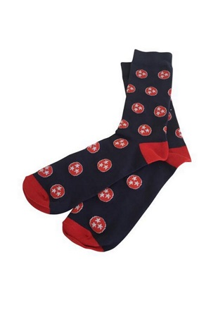 Navy and Red Tri-Star Socks