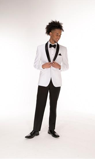 Clayton One Button White Coat with Black Satin Shawl Lapel