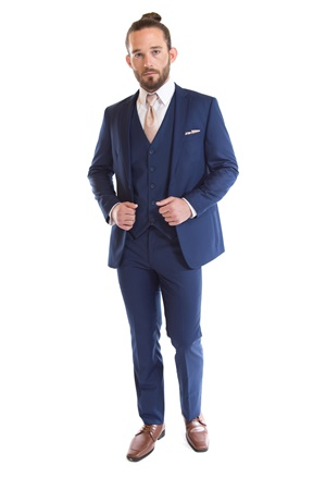 French Blue Suit by David Major Select - Street Tuxedo - Blue Suit - Navy Suit - Rental Suit - Retail Suit - Properly Suited