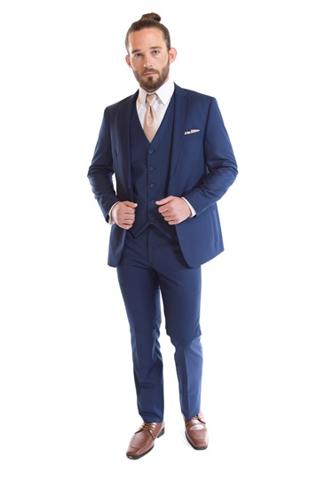 French Blue Suit by David Major Select - Street Tuxedo - Blue Suit - Navy Suit - Rental Suit - Retail Suit - Properly Suited